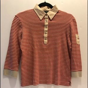 Cotton Ralph Lauren cop sleeves red & tan shirt
